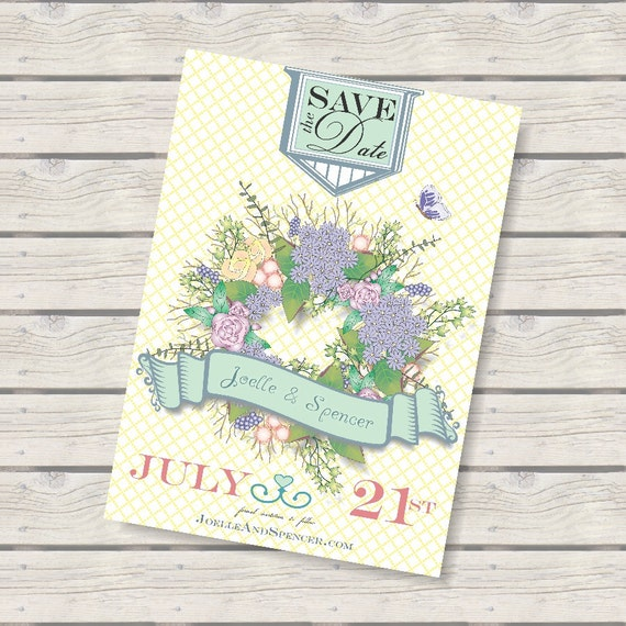Shabby Chic Save the Date Floral Wreath 5x7 Announcement, Digital Announcement