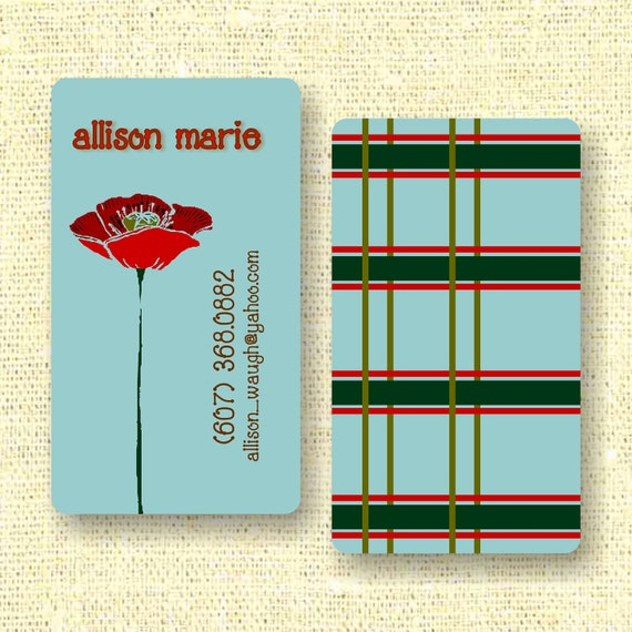 Red Poppy Calling Card / Custom Business Card / Mommy Card