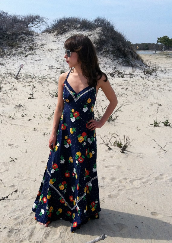 Maxi Dress XS 70s Lanz Originals Halter Cross Back Cotton Navy Floral