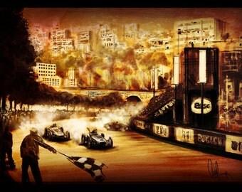 Vintage Automotive Art 1960 Monaco Grand Prix Sterling Moss 16x24 Metallic Print