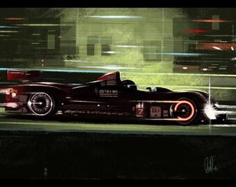 Automotive Art  Oreca Lemans Sebring Race 8x12 Metallic Print
