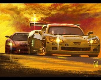 Automotive Art: Yellow Corvette 8x12 Metallic Print