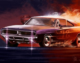 Automotive Art Muscle Car 1969 Charger : 8x12 Metallic Print