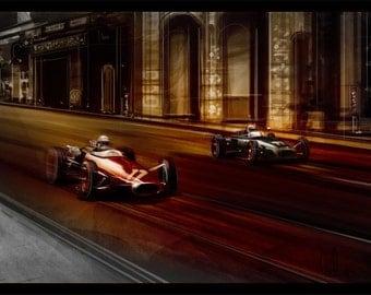 Automotive Art Grand Prix Monaco 8x12 Metallic Print