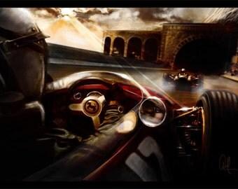 Automotive Art Grand Prix Monaco 16x24 Metallic Print