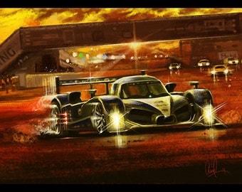 Peugeot at Sebring Race Track 12x18 Metallic Art Print
