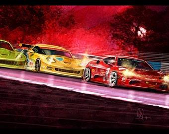 Automotive Art Red Ferrari and Yellow Corvette 8x12 Metallic Print