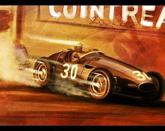Vintage Grand Prix Automotive Art 16x24 Metallic Print