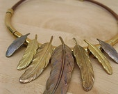 Gorgeous Vintage Leather and Brass Feather Necklace