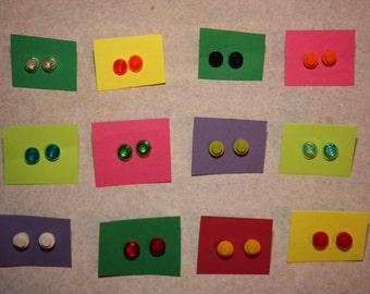 Lego Round Earrings