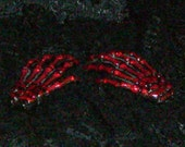 Creepy Skeleton Hands Hair Clips BLOOD RED GLITTER Barrettes Gothic
