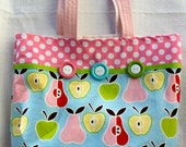 Tote Bag - Light Blue w/ Apples, Pears, and Pink & White Polka Dots w/ Green Grosgrain Ribbon and Buttons