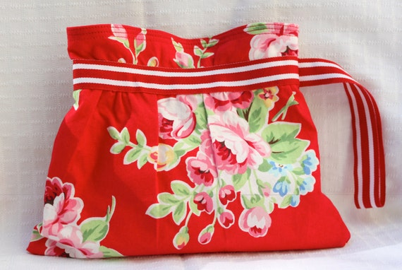 Wristlet - Red w/ Pink Roses, Blue Flowers and Red & White Grosgrain Ribbon Strap