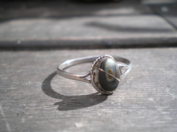 1991 Vintage Mexico Silver Handcrafted Abalone Shell Ring Sz 6 1990s
