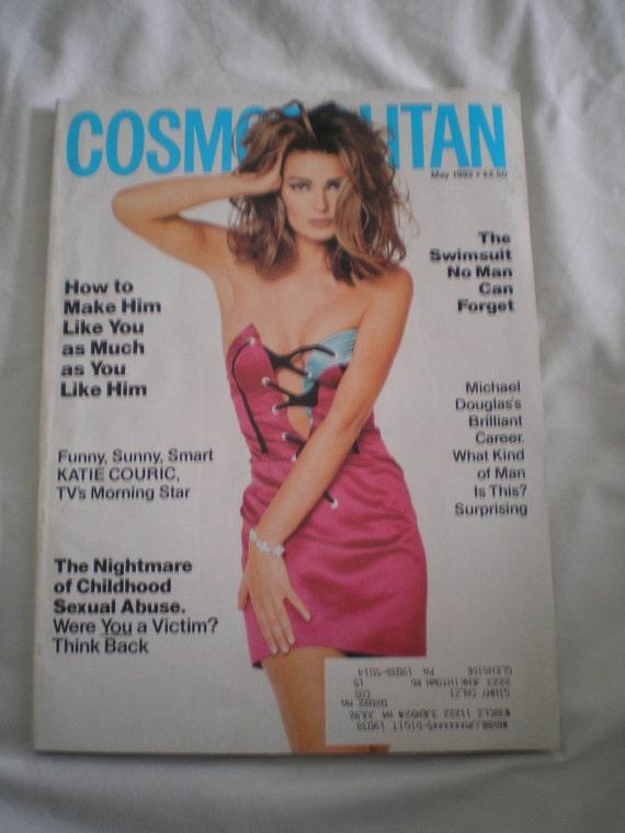 Vintage 1990s Cosmopolitan Magazine May 1992 Paulina // Michael Douglas //