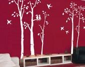Vinyl Wall Decals wall Sticker tree decals murals,decor,wall Art - birds in birch forest -set of 5 birch trees