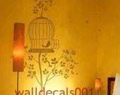 Vinyl wall decal wall sticker wall decor mural art-lovely birdscage tree