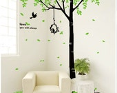 Tree Wall Decal wall stickerbirds decal room decor wall decal wall art  - Giant tree