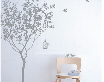 Vinyl wall decals Tree decals room decor wall stickers wall deor wall art- tree with bird 72