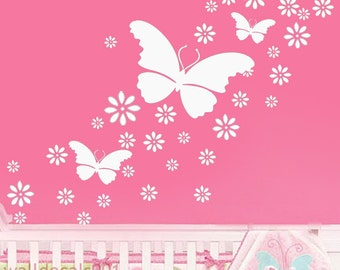 Vinyl Wall Decal Wall Sticker-Butterfly and flowers