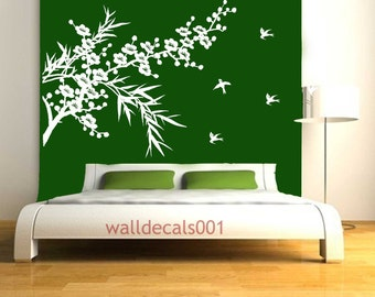 Wall decals Wall stickers  cherry blossom decal bamboo decal birds decal floral decal nature room decor Art