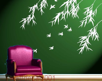 Wall Decals Wall stickers Art - birds with bamboo