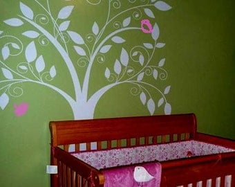 Tree Wall Decals Wall stickers,decal,stickers,kids,baby,nursery  -The Loving Tree with Birds