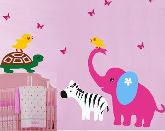 Animal Wall Decals Kids decals baby decal nursery decal  Wall Sticker elephant decal room decor Zebra decal Muras-Animal Paradise