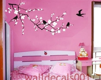 Flower wall decals wall stickers cherry blossom decals floral decal  girl room decor wall decor wall art- Cherry Blossom