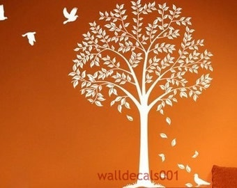 white tree Wall Decal Wall Stickers kids decal birds decal tree decal  wall art- Autum tree
