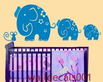 Removable Vinyl Wall Decal wall Sticker elephant decal kids decal baby decal nursery decal wall art Ar tMom and Baby Elephants with a mouse