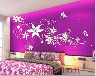 Flower wall decals Wall stickers,wall decor,,wall art, Flower with Butterfly for girls room