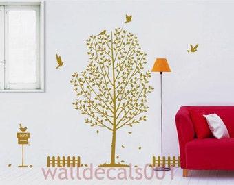 Vinyl Wall Decals Wall stickers Tree Decals Birds Decals- lovely garden
