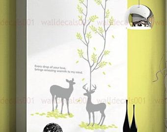 Vinyl wall sticker wall decal Art - lovely deers