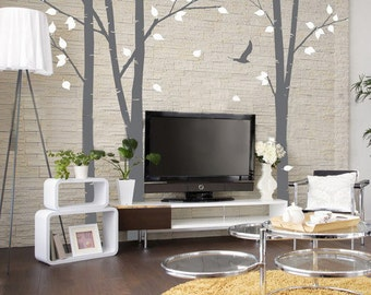 Tree Wall Decals Wall Stickers - Set of 3 100in Birch Trees