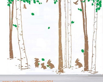 Vinyl Wall Decal,wall Sticker,wall decor, tree decals wall Art - In the forest-set of 7 trees with rabbits