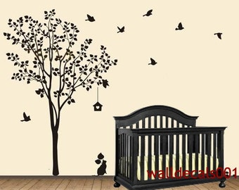 Vinyl Wall Decals Wall Stickers Tree Decals  - Happy Tree with birds 80""