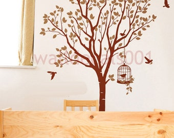 Vinyl  wall decal, sticker ,wall decor-lovely tree with birds