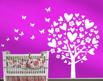 Vinyl  Wall Decals Wall Sticker Tree decals Baby nursery decals  - lovely heart tree with butterflies