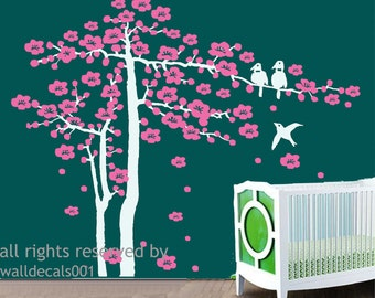 Kids Wall Decal, Wall Sticker,wall decor,tree decal cherry blossom decals nursery Decals-  Cherry Blossom Tree