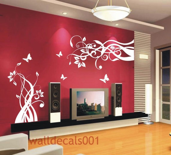 Wall Decals Wall Stickers Flower Butterfly Decal- Lovely flower With Butterfly
