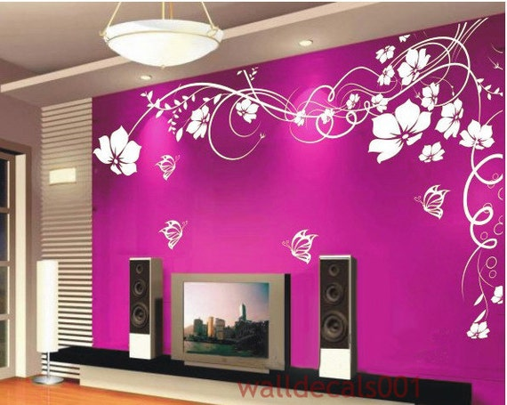 Vinyl Wall Decal wall sticker Flower decal butterfly decal room decor wall decor home decor -Beautiful Flower With Butterfly