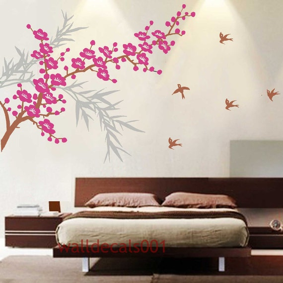 Vinyl wall decal wall sticker Cherry blossom decal tree decal  flower decal birds decal-bamboo and cherry blossom