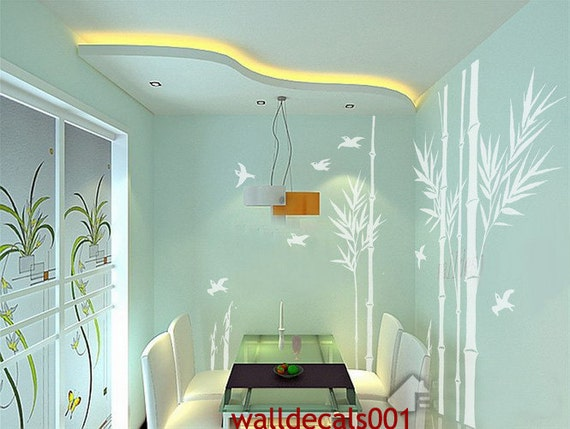 Vinyl Wall Decal wall Sticker Wall Decor Bamboo Decal - birds in bamboo forest