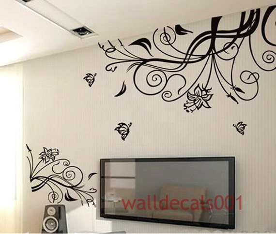 Wall Decals - flower With Butterfly