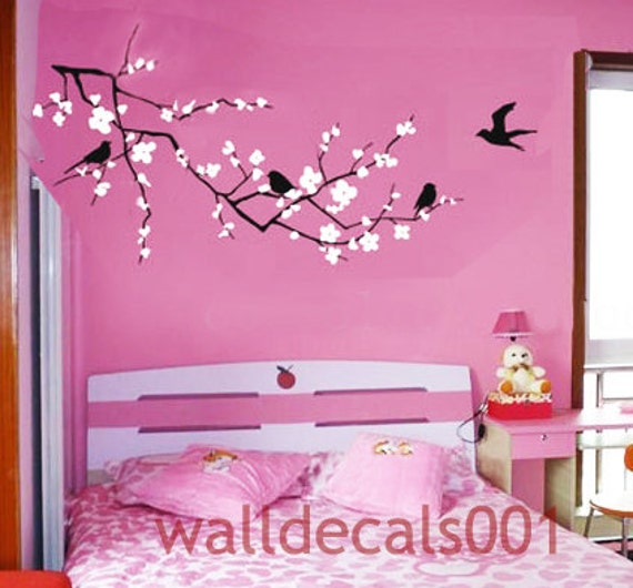 Flower wall decals wall stickers cherry blossom decals floral for Cherry blossom wall mural stencil
