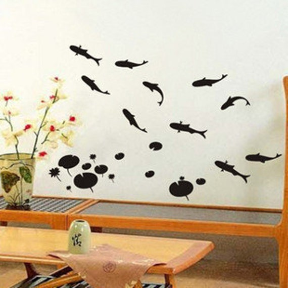 Vinyl wall sticker wall decal art-15 lovely fishes with lotus