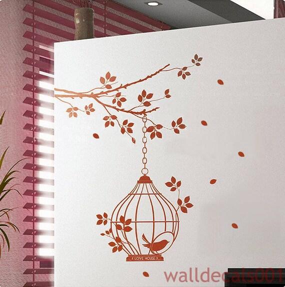 Vinyl wall Decal, Wall Sticker,murals -lovely birds cage