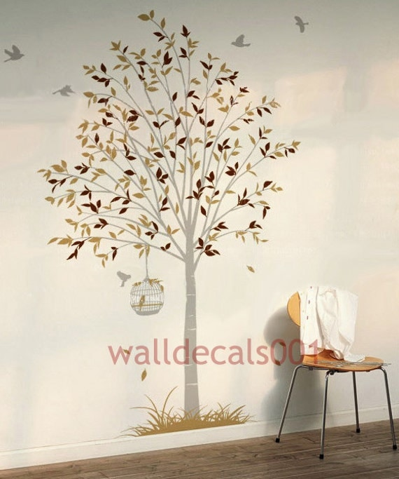 Tree Wall Decal ,Wall  sticker,wall decor,wall art Tree and Birds Decals- tree,birds,birds case,grass