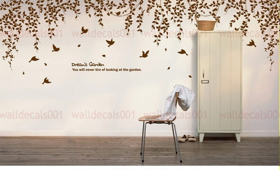 wall decal  Wall sticker room decor  nature tree decal birds decal  wall decor wall art  decal Art - Dream's garden